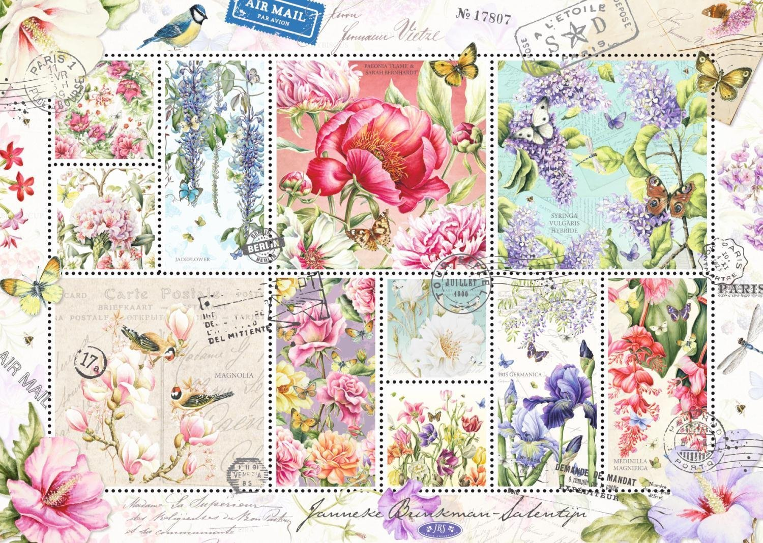 FLOWER STAMPS 1000 PIECE JIGSAW PUZZLE - JUMBO