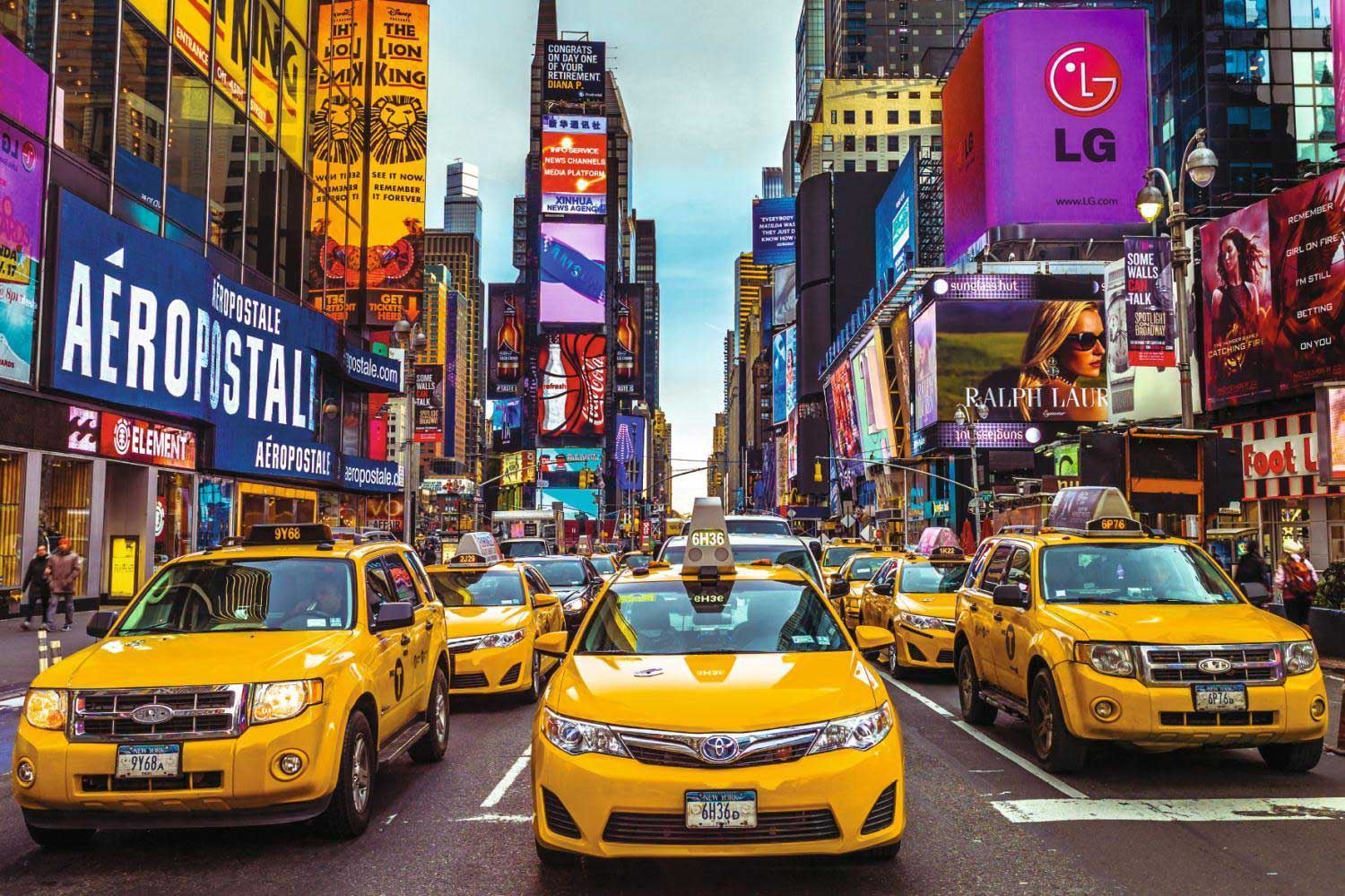 new york taxi 1500 piece jigsaw puzzle by jumbo. Black Bedroom Furniture Sets. Home Design Ideas