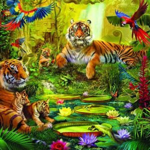 Tiger Family in the Jungle 1500 Piece Puzzle - Jumbo