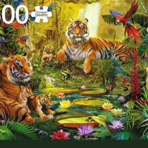 Tiger Family in the Jungle 1500 Piece Puzzle by Jumbo