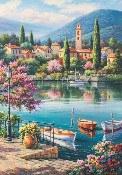 Village Lake Afternoon 500 Piece Jigsaw Puzzle