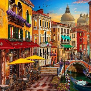 Of Land and Sea - Venice Canal Cafe 1000 Piece Puzzle