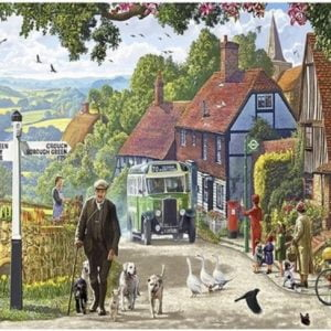 The English Village - Village Bus 500 XXL Piece Puzzle - Holdson