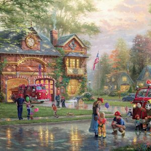 Thomas Kinkade - Hometown Firehouse 1000 Piece Puzzle
