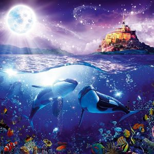 Whales in the Moonlight 1000 Piece Jigsaw Puzzle - Ravensburger
