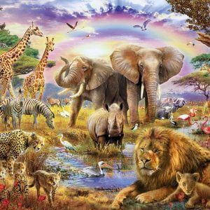 Watering Hole Under the Rainbow 3000 Piece Jigsaw Puzzle