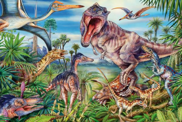 Amongst Dinosaurs 60 Piece Schmidt Jigsaw Puzzle