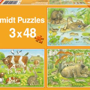 Animal Families 3 x 48 Piece Schmidt Jigsaw Puzzle