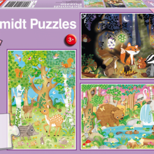 Animals of the Forest 3 x 24 Piece Schmidt Jigsaw Puzzle
