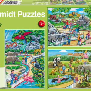 A Day at the Zoo 3 x 24 Piece Schmidt Jigsaw Puzzle