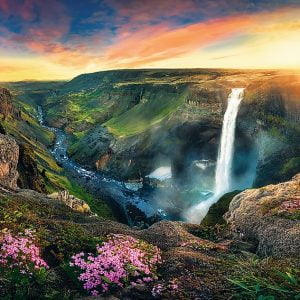 Haifoss Waterfall, Iceland 2000 Piece Jigsaw Puzzle - Trefl