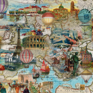 Hot Air Balloon Flight Through Europe 1000 Piece Puzzle