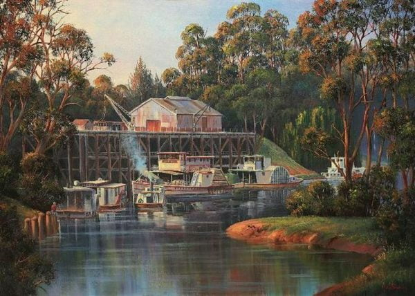 John Bradley - Echuca Riverboats 1000 Piece Blue Opal Jigsaw Puzzle