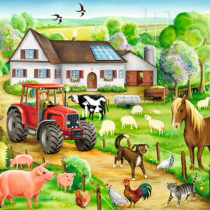 Merry Farmyard 100 Piece Schmidt Jigsaw Puzzle