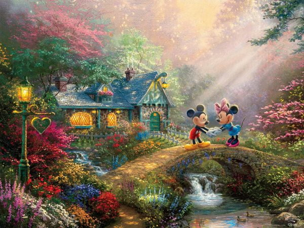 Thomas Kinkade - Mickey & Minnie Sweetheart Bridge 750 Piece Puzzle
