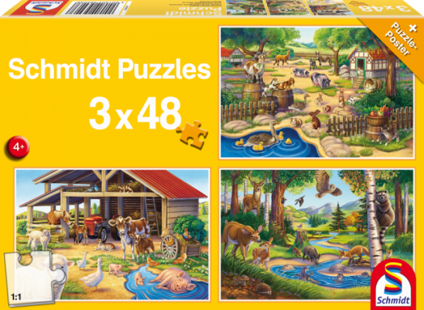 My Favourite Animals 3 x 48 Piece Schmidt Jigsaw Puzzle