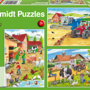 On the Farm 3 x 24 Piece Schmidt Jigsaw Puzzle