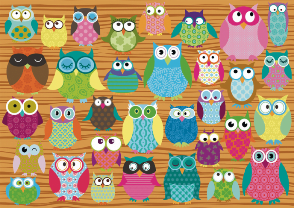Owl Collage 500 Piece Schmidt Jigsaw Puzzle