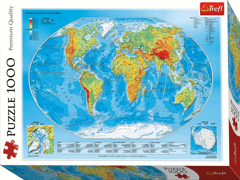 PHYSICAL MAP OF THE WORLD 1000 PIECE JIGSAW PUZZLE