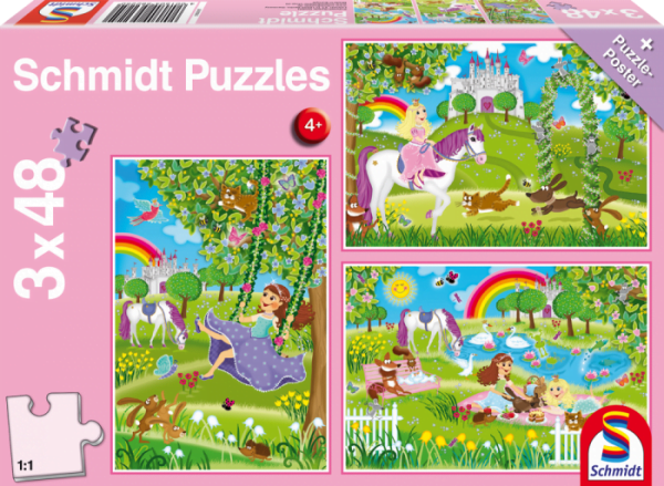 Princess and Castle 3 x 48 Piece Schmidt Puzzle