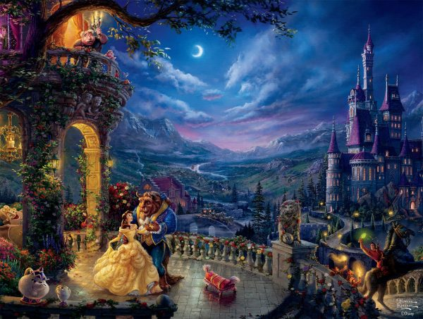Thomas Kinkade - Disney Beauty & The Beast Dancing in the Moonlight 750 Piece Puzzle