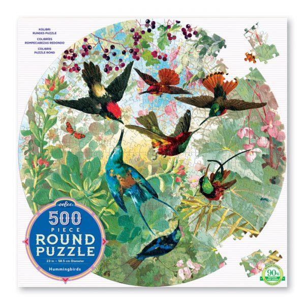 Hummingbirds 500 Piece Round Jigsaw Puzzle - eeBoo