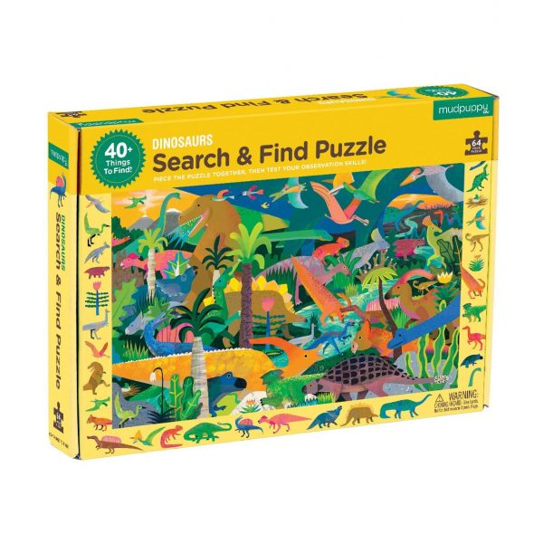 Search and Find - Dinosaurs 64 Piece Jigsaw Puzzle - Mudpuppy