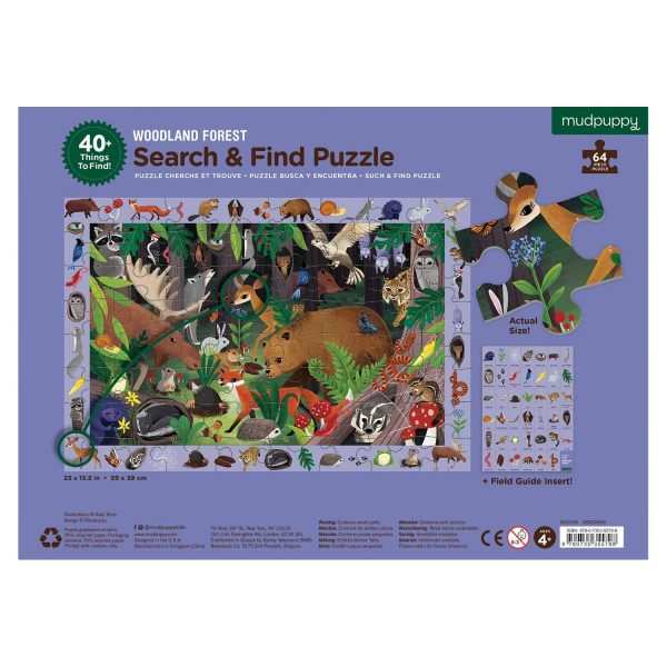 Search and Find - Woodland Forest 64 Piece Jigsaw Puzzle - Mudpuppy