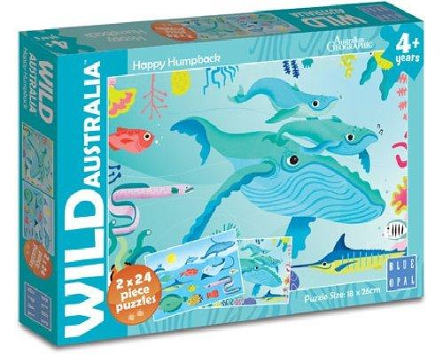 Wild Australia - Happy Humpback 2 x 24 Piece Jigsaw Puzzle - Blue Opal