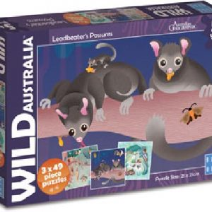 Wild Australia - Leadbeater's Possums 3 x 49 Piece Jigsaw Puzzle - Blue Opal