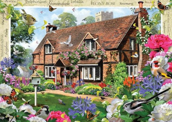 Blossom Borders - Peony Cottage 500 XL Piece Puzzle - Holdson