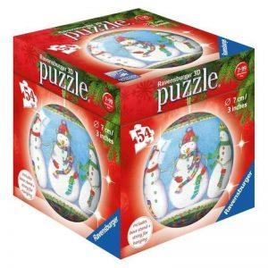 3D PUZZLEBALL CHRISTMAS ORNAMENT 54 PIECE SNOWMEN - RAVENSBURGER