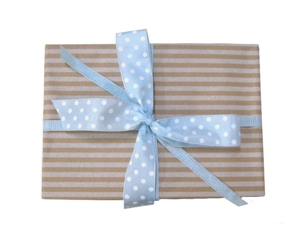 Gift Pack Combo - Paper and Ribbon - Kraft with White Stripes