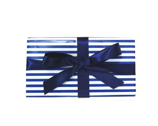 Gift Wrap Combo - Paper and Ribbon - Navy Blue Stripe