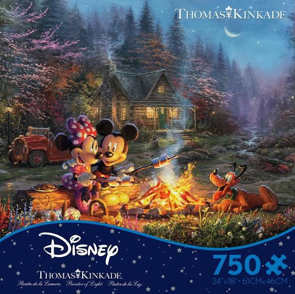 Thomas Kinkade Disney Mickey and Minnie Campheart Fire 750 Piece Puzzle