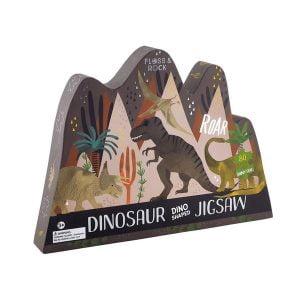 Dinosaur Dino Shaped 80 Piece Jigsaw Puzzle - Floss & Rock