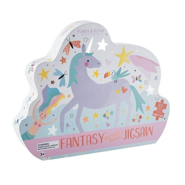 Fantasy 80 Piece Butterfly Shaped Jigsaw Puzzle with Shaped Box - Floss & Rock