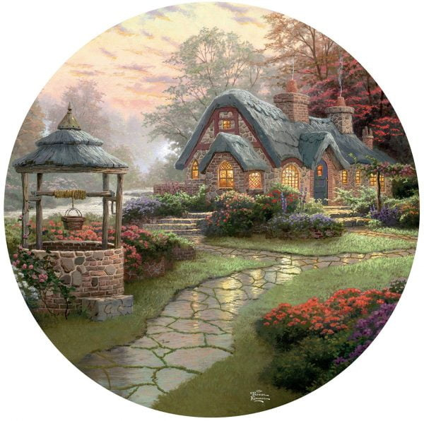Thomas Kinkade 500 Piece Round Puzzle - Make a Wish Cottage