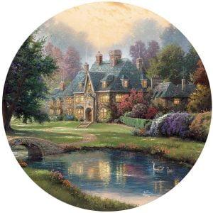 Thomas Kinkade 500 Piece Round jigsaw Puzzle - Lakeside Manor