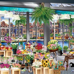 Windows to the World - Amsterdam Flower Market 1000 Piece Jigsaw Puzzle - Holdson