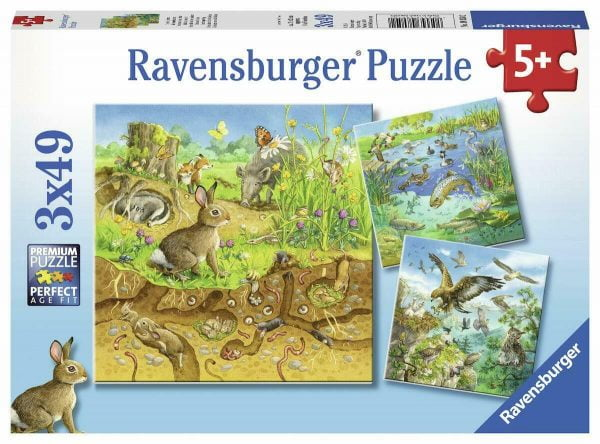 Animals in their Habitats 3 x 49 Piece Jigsaw Puzzles - Ravensburger