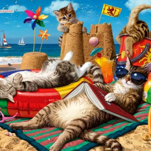 Cats on the Beach 260 Piece Jigsaw Puzzle - Anatolian