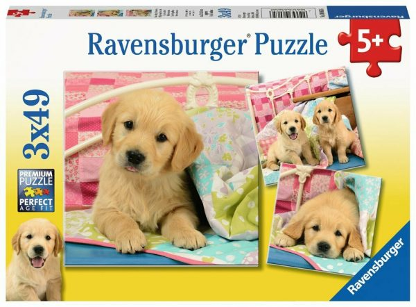 Cute Puppy Dogs 3 x 49 Piece Jigsaw Puzzles - Ravensburger