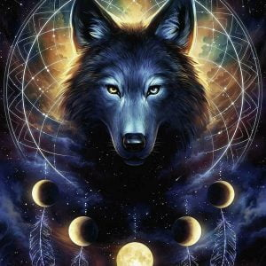 Lunar Wolf 500 Piece Glow in the Dark Jigsaw Puzzle - Ravensburger