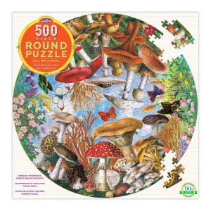 Mushroom and Butterflies 500 Piece Round Jigsaw Puzzle - eeBoo