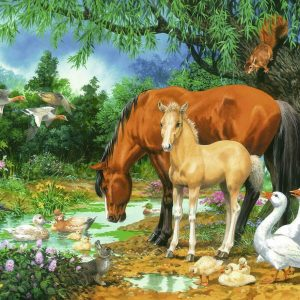 Ponies at the Pond 100 XXL Piece Jigsaw Puzzle - Ravensburger