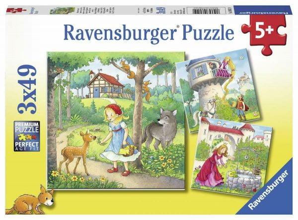 Rapunzel, Riding Hood and Frog 3 x 49 Piece Jigsaw Puzzle - Ravensburger