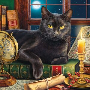 Black Cat by Candlelight 500+ Large Piece Jigsaw Puzzle - Sunsout