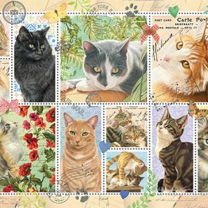 Cat Stamps 1000 Piece Jigsaw Puzzle - Jumbo