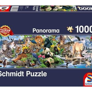 Colourful Animal Kingdom 1000 Piece Panoramic Jigsaw Puzzle - Schmidt
